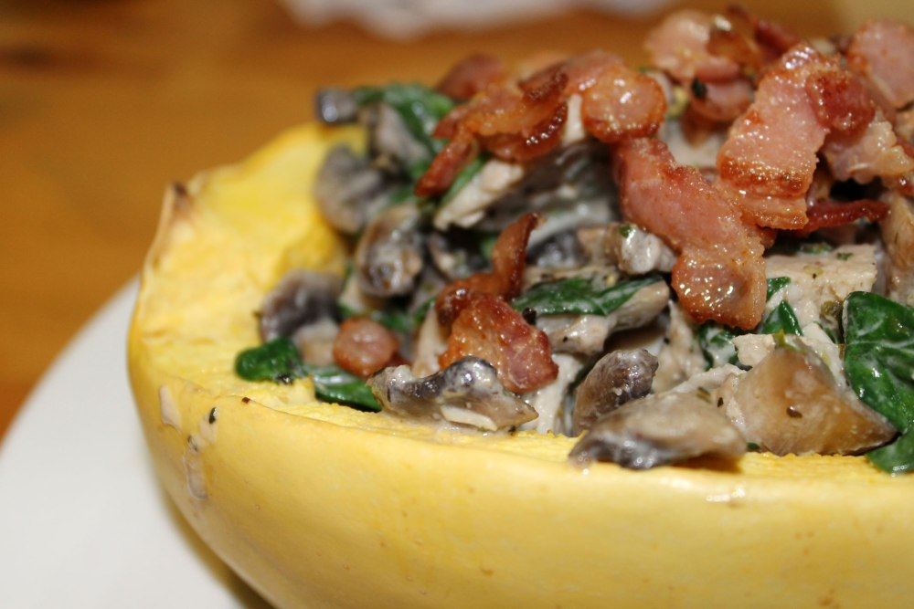 Chicken Bacon and Mushroom Alfredo With Spaghetti Squash (2/3)